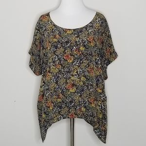 Anthropologie Lilu Silk Abstract Pattern Blouse M